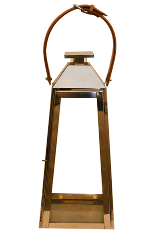Trapezoid with Leather Handle Lantern