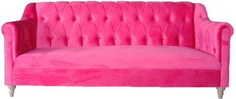 lucy sofa, hot pink sofa, pink sofa for rent, pink lounge sofa, ooh events, charleston event rentals, event rentals, wedding rentals