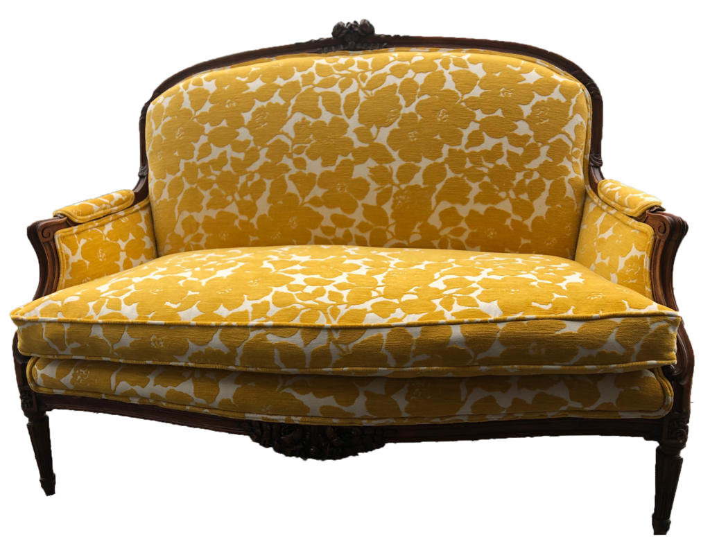 sofa, couch, sofa for rent, rental items, furniture for rent, event planning, ooh events, ooh events couch, ooh events sofa, love seat, loveseat, yellow loveseat, patterned loveseat, marigold, marigold loveseat
