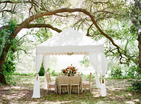 White Scalloped Raj Tent