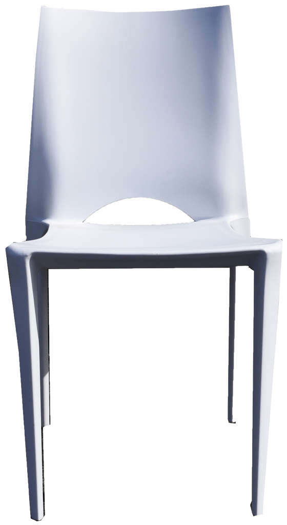 modern white plastic stacking chair, white plastic stacking chair, white plastic chair with cutout in back