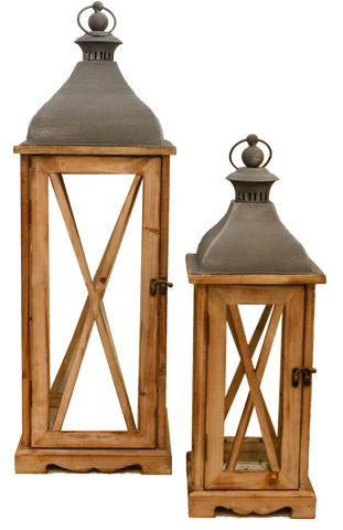 natural x wooden lantern, wood and metal lantern, decor for rent, outdoor lantern, wedding rentals, event rentals, charleston event rentals, ooh events, rustic lantern