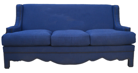 navy linen high back sofa with nail heads