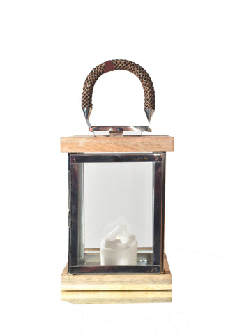 Square Wooden Lantern w/ Leather Handle