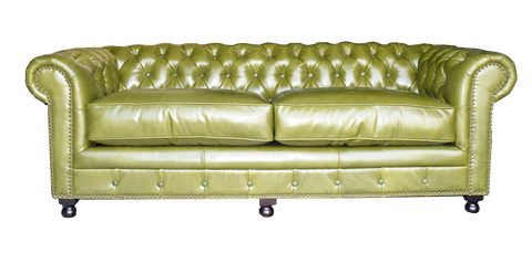 olive green leather chesterfield sofa