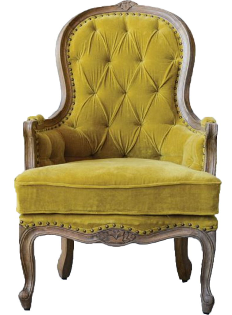tina chair, yellow velvet chair with wood, yellow velvet chair for rent, event rentals, lounge rental, ooh events