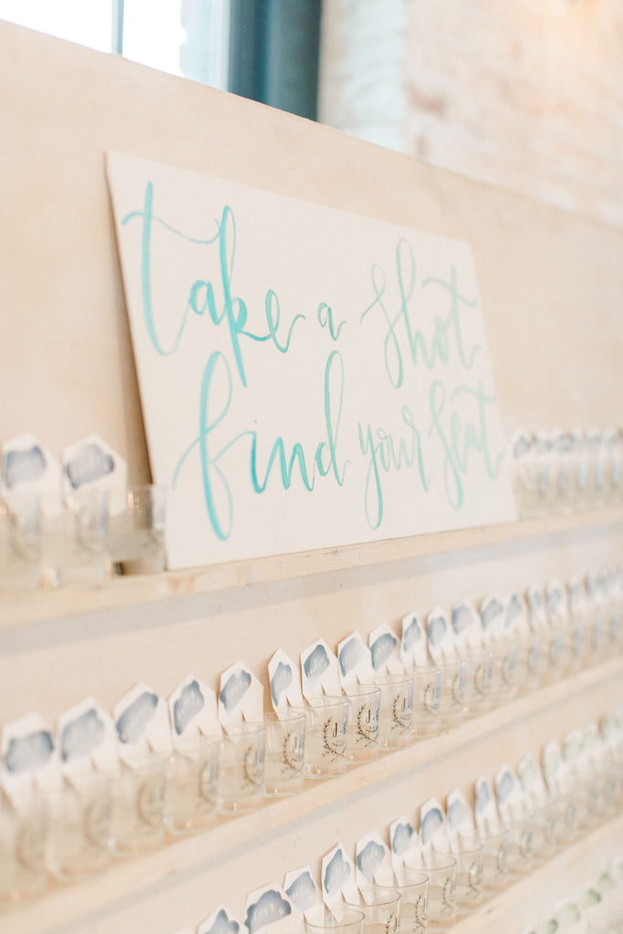 White Washed Escort Card Wall