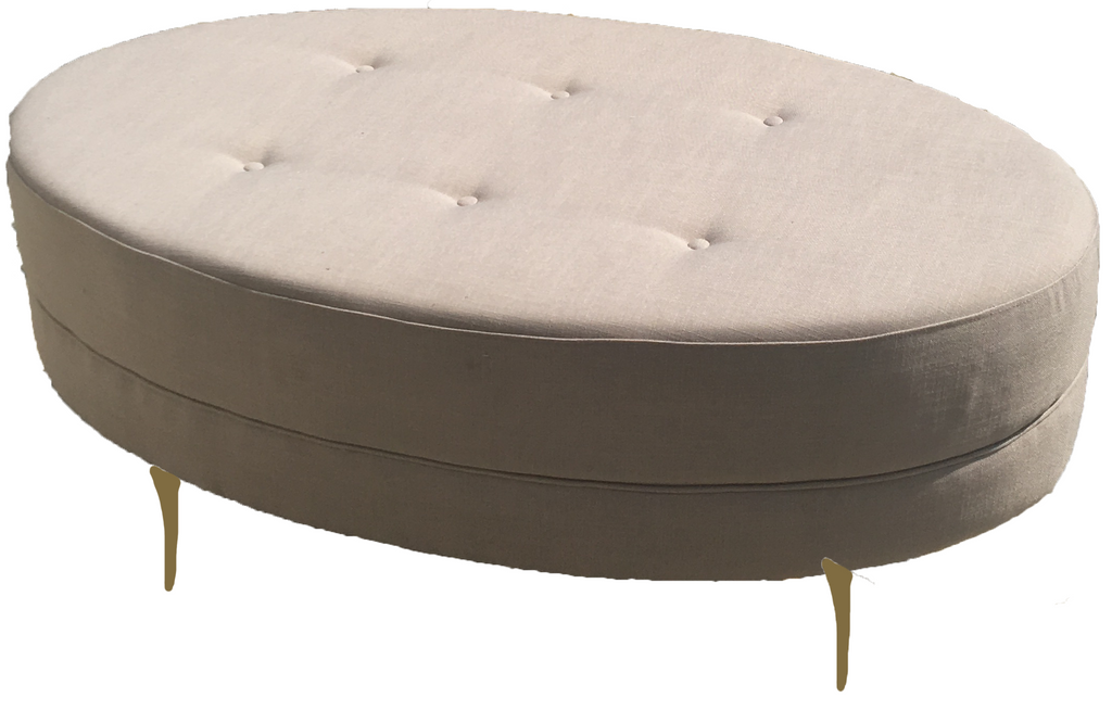 oval taupe ottoman, taupe ottoman, oval ottoman, taupe, ooh events
