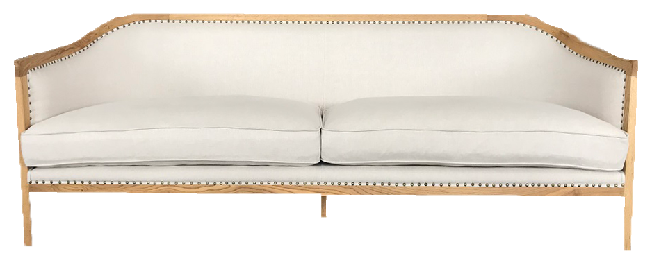 palmer sofa, linen sofa with wood and brass, white linen sofa for rent, charleston event rentals, ooh events, lounge sofa, wedding rentals