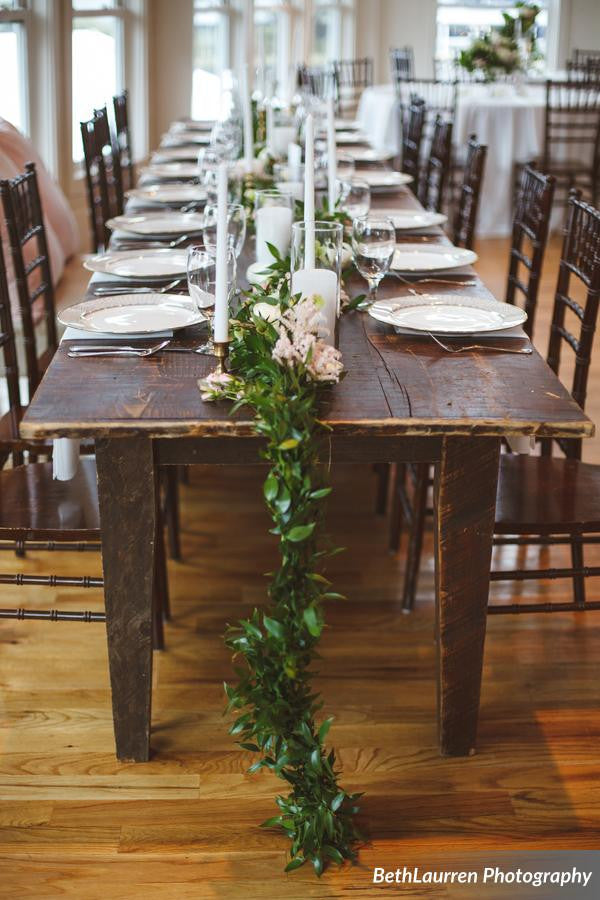 ooh events, farm table, classic farm table, wooden farm table, farm table for rent, farm table with greenery