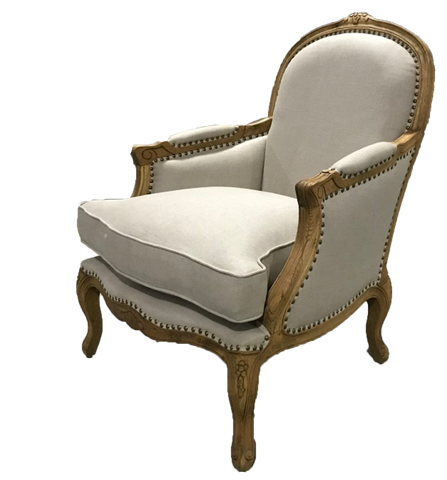 prince william chair, white linen chair for rent, wood and white linen chair with brass, antique chair, ooh events, charleston event rentals, event rentals, wedding event rental