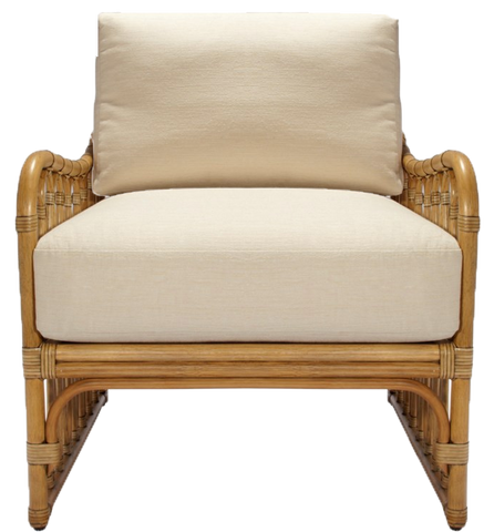 Rattan Club Chairs, Club chair with rattan sides and cream colored back and bottom cushion