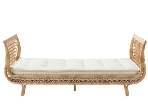 Rattan Daybed, daybed, rattan bench, rattan with white cushion