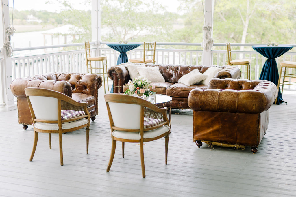 sofa, couch, sofa for rent, rental items, furniture for rent, event planning, ooh events, ooh events couch, ooh events sofa, charleston sc rentals, charleston wedding rentals, classic brown sofa, brown sofa, leather sofa