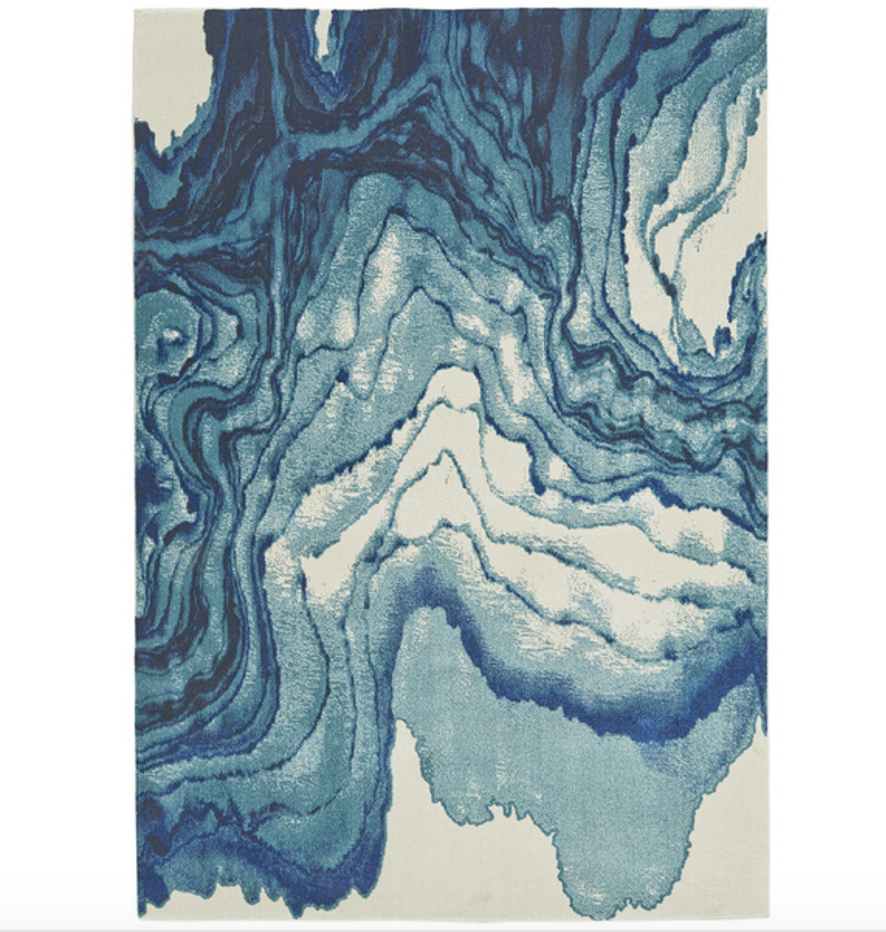 furniture rentals, ooh events, event rentals, rental, rentals, wedding rentals, rug, rugs, decor, blue and white abstract rug, abstract rug, grand bazaar, grand bazaar rug, blue and white swirl rug