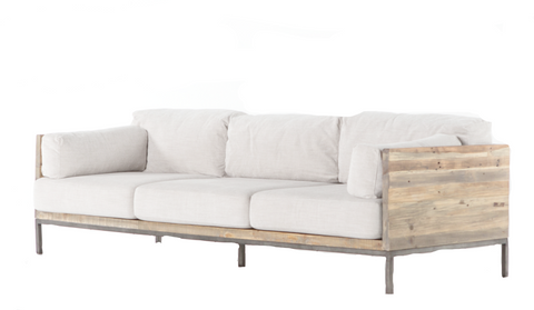 furniture rentals, ooh events, event rentals, rental, rentals, Norwood sofa, modern sofa, minimal sofa, sofa with wooden accents, wood, white, white sofa