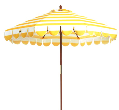 Lemon Yellow Stripe 9' Umbrella with Stand