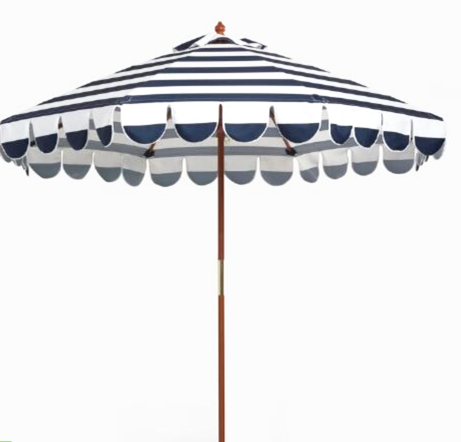 Blue Stripe 9' Umbrella with Stand