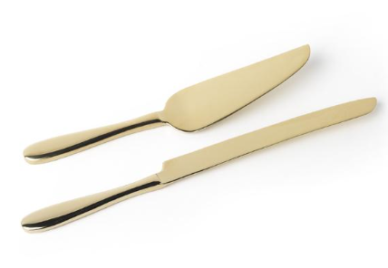 Gold Cake Knife & Server Set