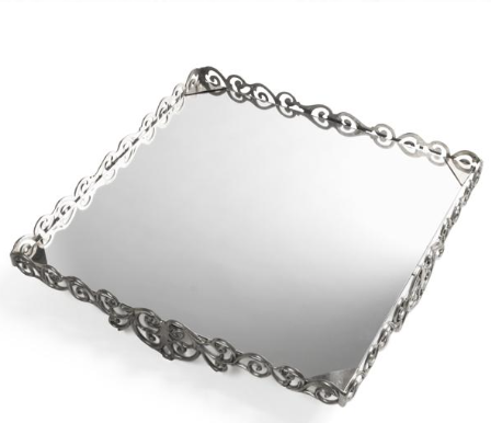 Silver Scroll Cake Stand Square