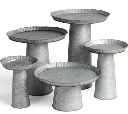 Mixed Galvanized Cake Stands