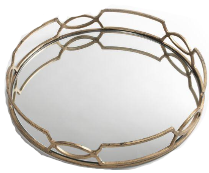 Gold Iron & Mirror Tray
