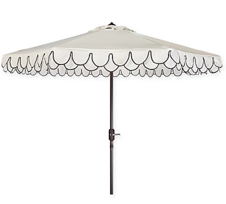 White Umbrella w/Navy Trim & Stand