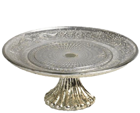 Small Antiqued Silver Cake Stand