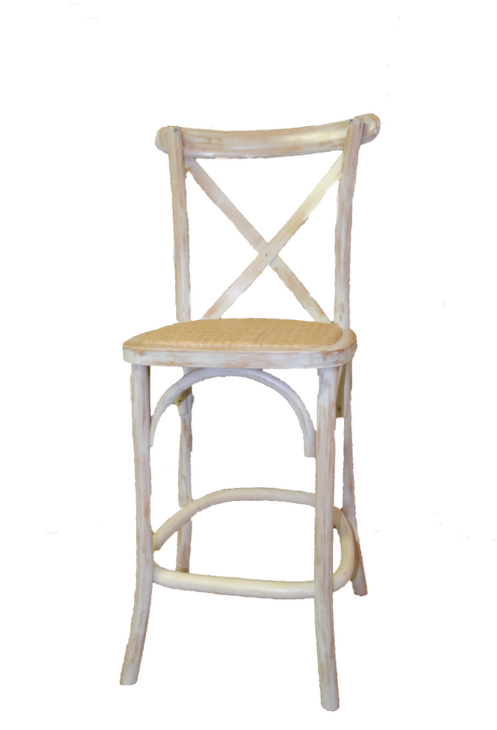 Whitewashed X Back Barstool, Rattan Seat