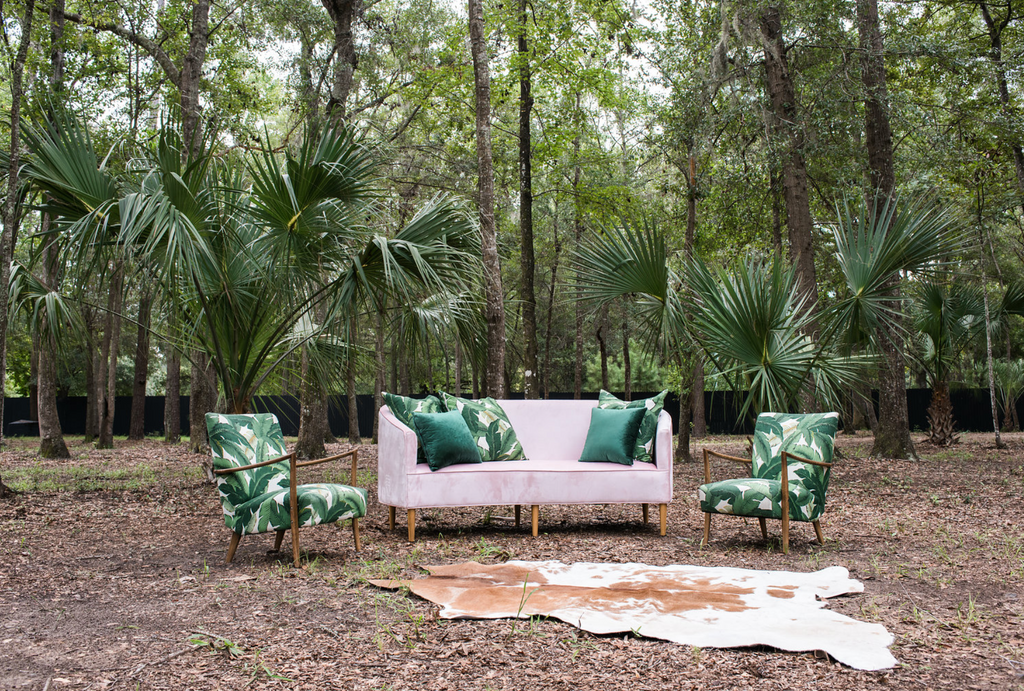 furniture rentals, ooh events, event rentals, wedding rentals, lounge, lounge rentals, banana leaf, banana leaf pattern, banana leaf chair, leaf, pattern, green, green banana leaf, modern, patterned chairs, banana leaf furniture