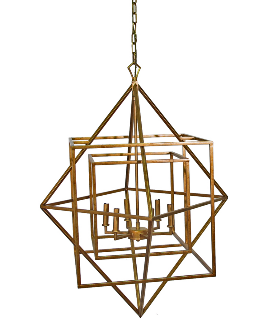 hilton chandelier, gold metal geometric chandelier, event rental, gold chandelier for rent, modern geometric gold chandelier, ooh events, charlatan event rentals