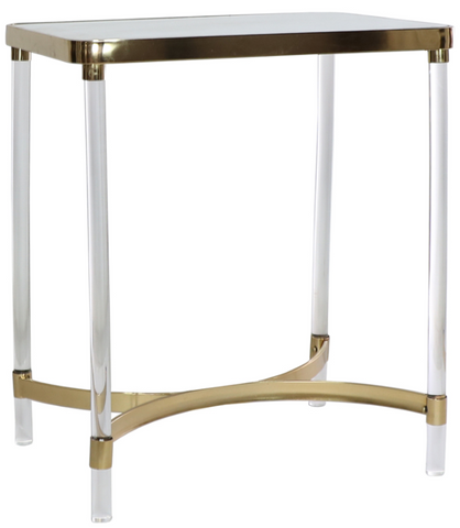 kyleena side table, white and gold table with mirror, white and gold side table for rent, ooh events, wedding rentals, charleston event rentals, event rentals