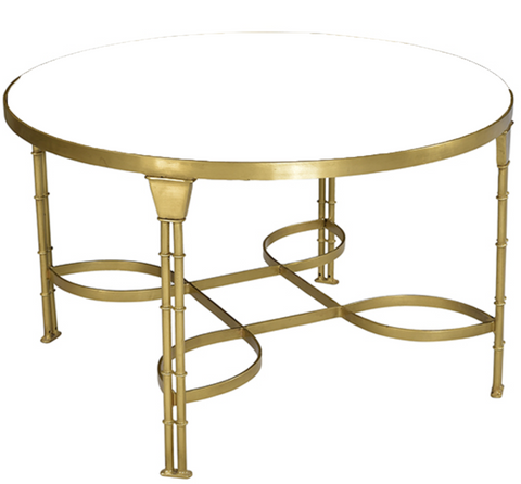 round glass top coffee table, glass and gold metal coffee table, glass and gold coffee table for rent , ooh events, event rental
