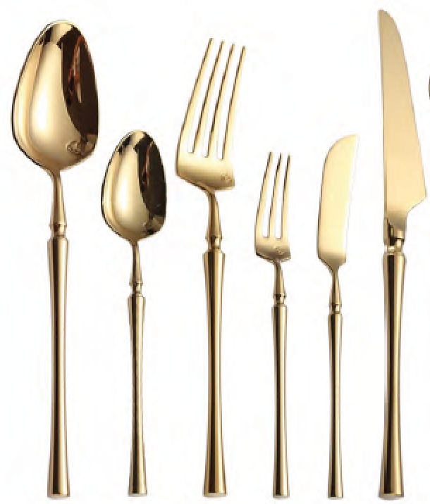 gatsby line, gatsby flatware, art deco flatware, gold flatware, gold knife, gold fork, gold spoon, flatware for rent, event rentals, charleston rentals, polished, ooh events
