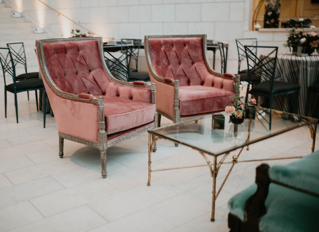 rose chair, velvet pink chair, pink and wooden chair, velvet pink chair for rent, wedding rentals, corporate rental, lounge rental, event rental, ooh events