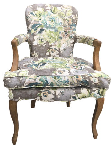 Sonoma Chair-Grey and blue patterned chair-patterned chair with arms and floral upholstery