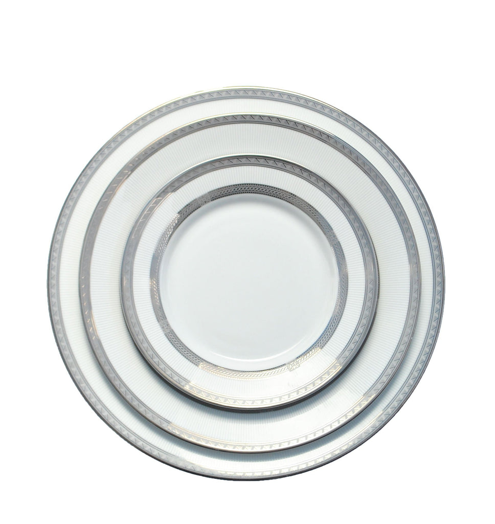 polished tabletop, polished, tabletop rentals, dishware, dishware rentals, plates, dishes, bowls, utensils, serving platters, china, silver rim, silver, silver pattern