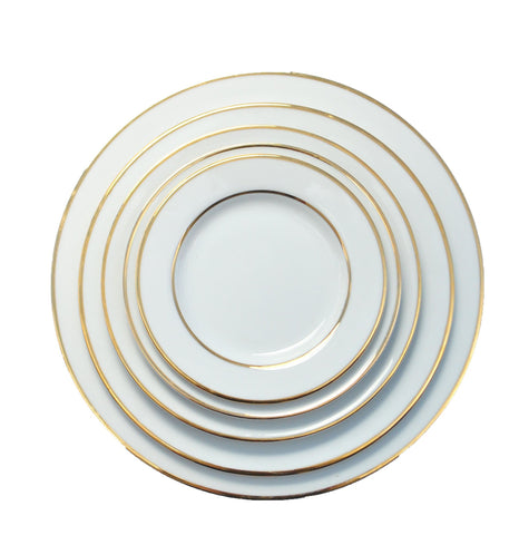 polished tabletop, polished, tabletop rentals, dishware, dishware rentals, plates, dishes, bowls, utensils, serving platters, double gold rim collection, white plates with gold rim, gold ,gold rim
