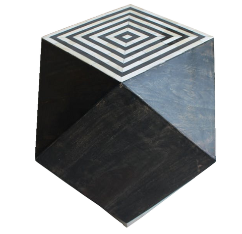 weeny side table, iron wood and bone side table, black and white patterned side table, black and white patterned side table for rent, ooh events, event rentals