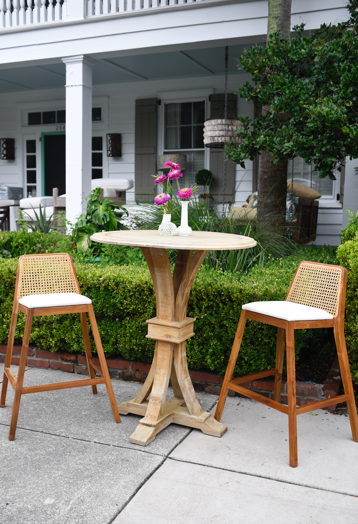 Teak and Cane Barstool