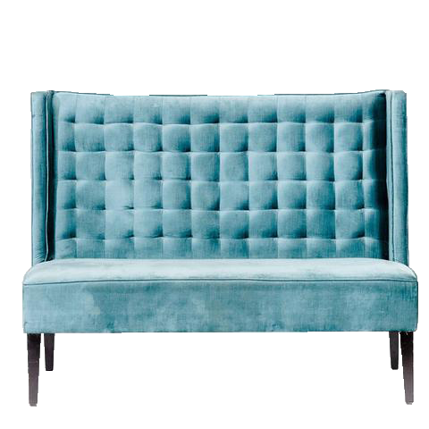 Teal Tufted High Back Sofa