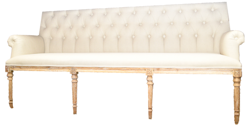 theo banquette, neutral couch for rent, white and wooden couch, sofa for rent, charleston event rentals, event rental, ooh events