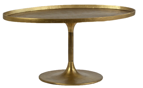 oval tulip coffee table, gold coffee table, modern coffee table for rent, event rentals, charleston event rentals, ooh events