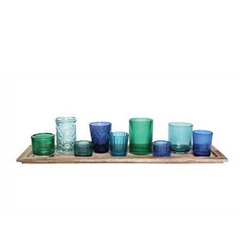 Wood Tray with 9 Multi-Color Votive Holders