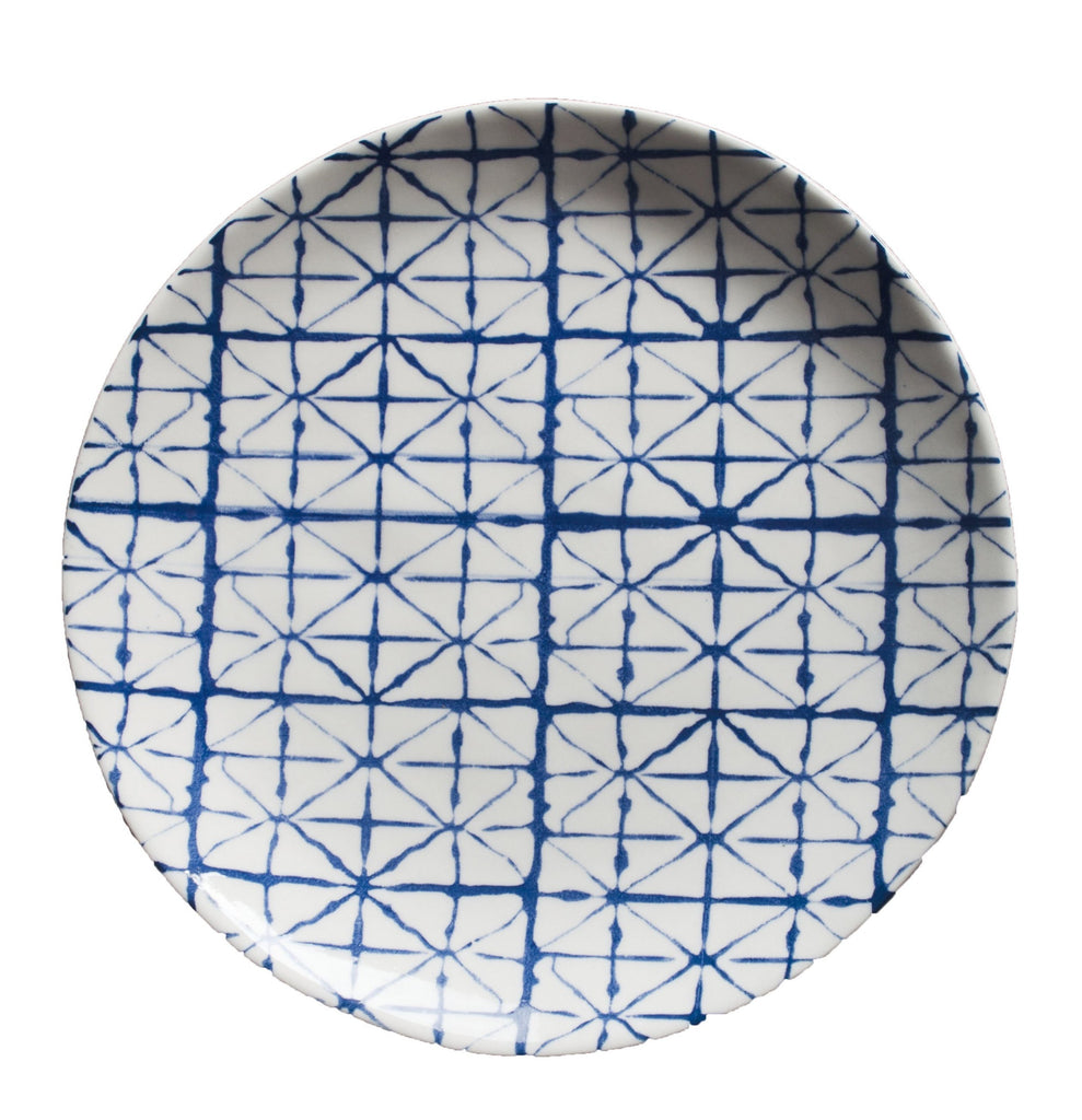 Blue + White Geometric Salad Plate