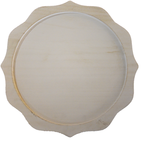 Scalloped Whitewashed Wooden Charger