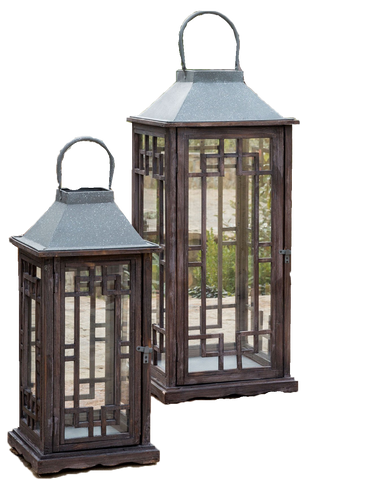 brown wood geometric lanterns, small and large