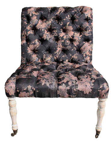 hannah chair, armless tufted black floral chair, black floral chair, black chair with pink flowers