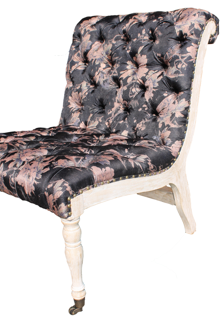 hannah chair, armless tufted black floral chair, black floral chair, black chair with pink flowers, hannah floral chair