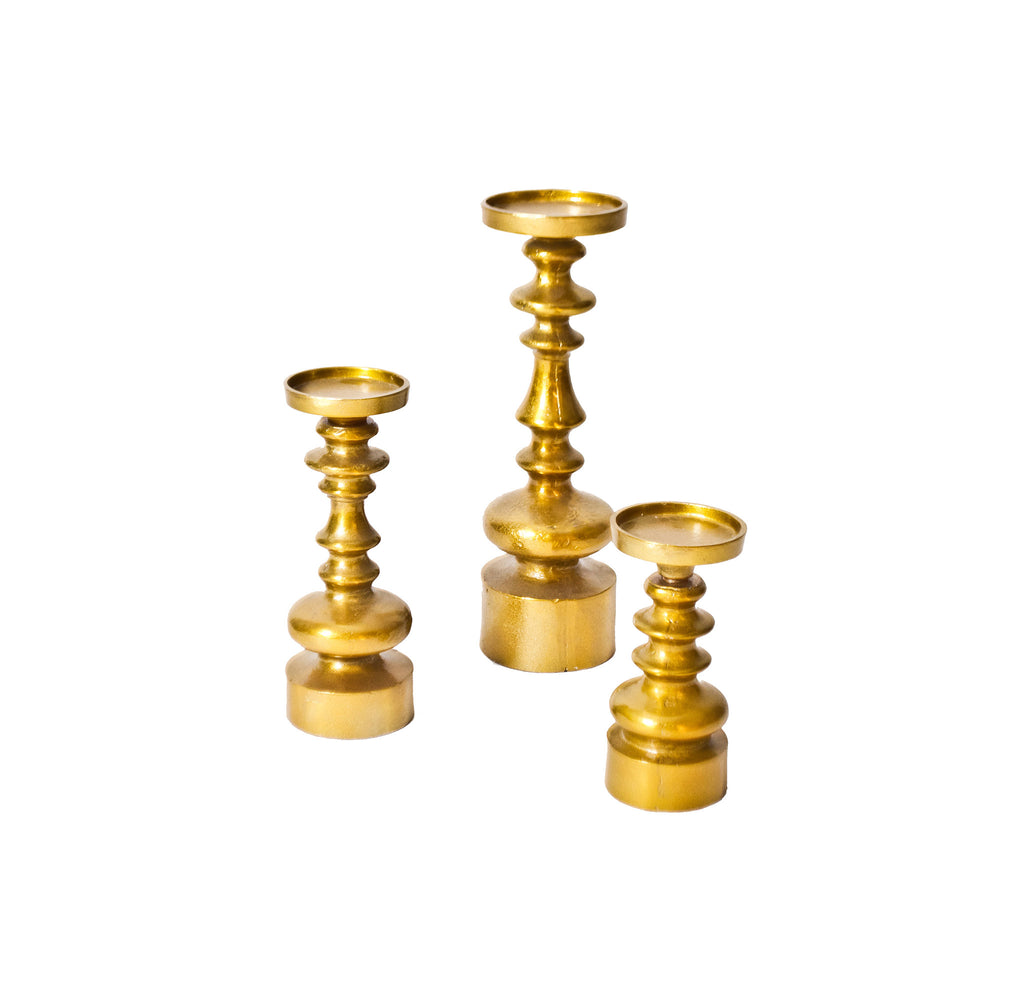 Gold Pillar Candlesticks